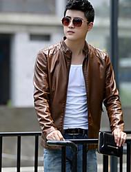 Masculino Jaquetas de Couro Tamanhos Grandes Moda de Rua Outono,Sólido Vermelho / Preto / Marrom Poliuretano Colarinho Chinês-Manga Longa
