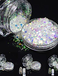 1bottle 3g Nail Glitter Hexagon Paillette 3d Nail Art Decorations Nail Powder Dust Polish Tips T01-04