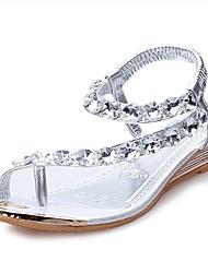 Damen-Sandalen-Lässig-PU-Flacher Absatz-Komfort-Silber / Gold