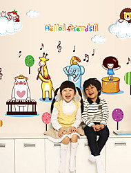 Hello Friends Animals Band Cartoon Zoo Wall Stickers DIY Fashion Children's Bedroom Living Room Wall Decals