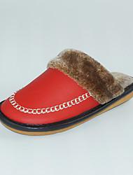 Damen-Slippers & Flip-Flops-Lässig-Leder-Flacher Absatz-Fersenriemen-Rot