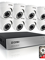 ZOSI8CH 720P HDMI CCTV System Video Recorder 1TB 4PCS 720P Home Security Camera Waterproof Surveillance Kits