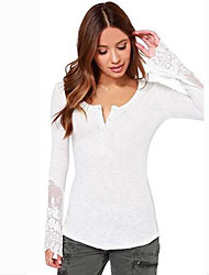 Women's Work / Beach Simple All Seasons T-shirt,Solid V Neck Long Sleeve White Cotton Medium