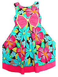 Girl's  Green Flower Sundress Bow Beauty Party Birthday Kids Clothing Dresses