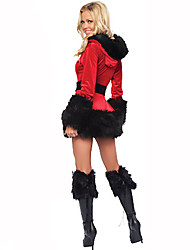 Santa Suits Festival/Holiday Halloween Costumes Red / Black Solid Dress / Hat / Belt Christmas Terylene