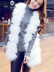 Women's Casual/Daily Simple Fur Coat,Solid Sleeveless Winter White / Gray Fox Fur