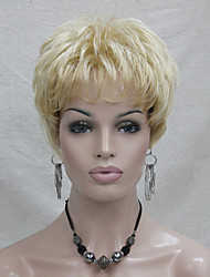 New Honey Blonde Mix Pale Blonde Short Straight Synthetic Hair Full Women's Wigs For Everyday