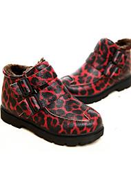 Girl's Boots Winter Comfort PU Dress / Casual Flat Heel Split Joint Black / Yellow / Red / Burgundy Walking