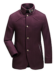 Masculino Casaco Tamanhos Grandes Vintage Outono / Inverno,Sólido Azul / Vermelho Algodão / Poliéster / Pêlo de Cordeiro Decote Redondo-