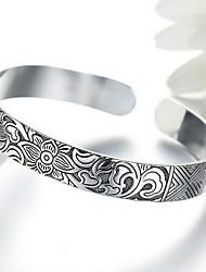 Vintage Style Silver Flower Cuff Bangle Bracelet