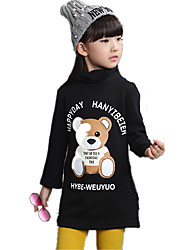Girl's Wild High Neck Bear Cartoon Print Fleece Lined Thickness Hoodie Long Bottom Tee
