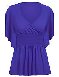 Damen Solide Einfach Ausgehen T-shirt,V-Ausschnitt Herbst Kurzarm Blau / Rot / Schwarz / Braun Polyester Mittel