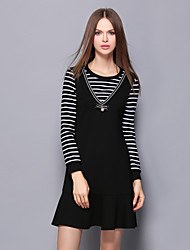 Women's Casual/Daily Vintage / Simple Skirt Suits,Solid / Striped V Neck Long Sleeve Black Cotton