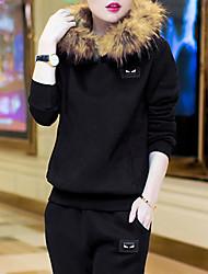 Sweat à capuche Femme Grandes Tailles Sportif simple Couleur Pleine Micro-élastique Polyester Nylon Manches Longues Automne Hiver