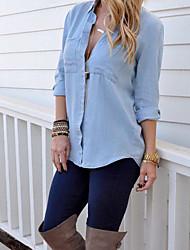 Feminino Camisa Casual SensualSólido Azul Algodão Colarinho de Camisa Manga Longa