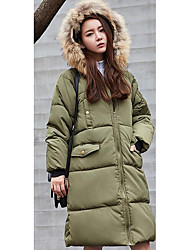 Women's Long Padded Coat,Simple Casual/Daily Solid-Cotton Without Filling Material Long Sleeve Blue / Pink / Black / Gray / Green