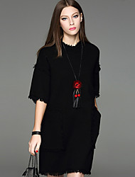 Damen Tunika Kleid-Lässig/Alltäglich Einfach Solide Rundhalsausschnitt Übers Knie ¾-Arm Schwarz Wolle / Polyester Herbst Mittlere Hüfthöhe