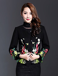 AINIER Women's Casual/Daily Chinoiserie JacketsEmbroidered Round Neck Long Sleeve Spring / Fall Black Wool