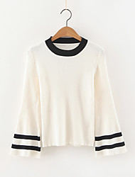 Women's Casual/Daily Simple Regular Pullover,Striped White / Black / Brown Round Neck Long Sleeve Cashmere / Polyester Fall / Winter