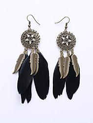 European And American Fashion Circle Card Eardrop Of Flowers Ethnic Customs Tassel Leaf Earrings Feather Earrings Long
