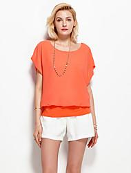Damen Solide Einfach Urlaub T-shirt,Rundhalsausschnitt Sommer Kurzarm Orange Polyester Dünn