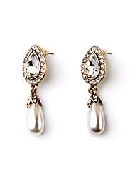 European Luxury Gem Geometric Earrrings Waterdrop Pearl Drop Earrings for Women Fashion Jewelry Best Gift