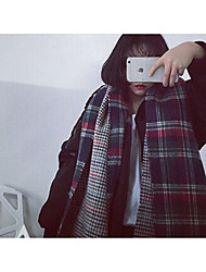 Korea Institute of retro big girl ulzzang British leisure wild plaid fringed scarves