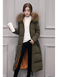 Women's Long Down Coat,Simple Casual/Daily Solid-Nylon White Duck Down Long Sleeve Green
