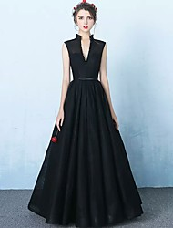 Formal Evening Dress A-line V-neck Floor-length Organza with Sash / Ribbon
