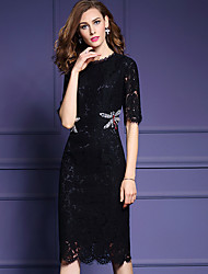 Women's Plus Size / Going out Vintage / Sophisticated Lace DressSolid Round Neck Knee-length  Length Sleeve