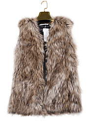 Women's Casual/Daily Punk & Gothic Fur CoatSolid V Neck Sleeveless Winter Brown Faux Fur Medium