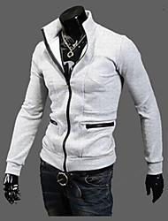 Masculino Jaquetas de Couro Casual Simples Inverno,Sólido Preto / Cinza Poliéster Colarinho Chinês-Manga Longa Grossa