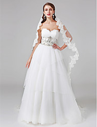 LAN TING BRIDE Ball Gown Wedding Dress Lacy Look Court Train Sweetheart Lace Tulle with Beading Button