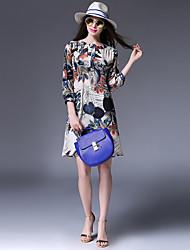 Trapèze Robe Femme Sortie / Décontracté / Quotidien simple,Fleur Col Arrondi Mini Manches ¾ Multi-couleur Coton / PolyesterToutes les