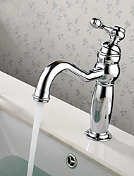 Contemporary / Modern Centerset Widespread with  Ceramic Valve Single Handle One Hole for  Chrome  Bathroom Sink Faucet