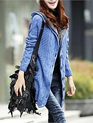 Women's Going out Casual/Daily Sexy Cute Street chic Long Cardigan,Solid Check Blue Red White Brown Hooded Long Sleeve Faux Fur Polyester