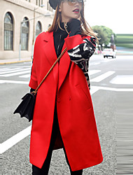 Women's Going out Street chic Coat,Letter Notch Lapel Long Sleeve Fall / Winter Red / Black Wool / Polyester Thick