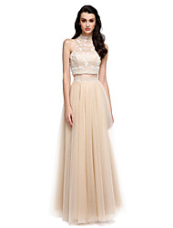 TS Couture Prom Formal Evening Dress - Two Pieces Sheath / Column High Neck Floor-length Satin Tulle with Beading Pearl Detailing
