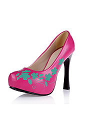 Women's Heels Spring Summer Fall Platform Comfort PU Wedding Dress Party & Evening Stiletto Heel Flower Black Yellow Pink White Walking