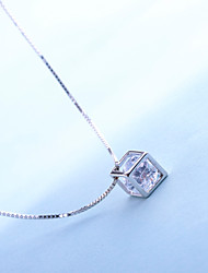 Women's Necklace AAA Cubic Zirconia Pendant Necklaces Jewelry Wedding / Party Sexy / Fashion Sterling Silver