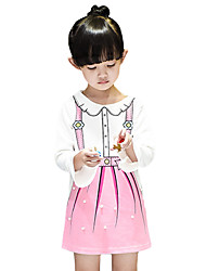 Girl's Cotton Spring/Fall Fashion Casual/Daily Sweet Cartoon Print Pearl Ruffle Long Sleeve Princess Dress Skirt