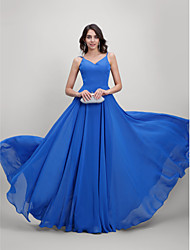 Corte en A Tirantes Spaghetti Larga Raso Baile de Promoción Evento Formal Vestido con Plisado por TS Couture®