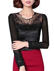 Fall Women Clothing Tops Ladies Temperament Casual Fashion Solid Round Neck Long Sleeve Lace T-shirt