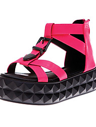 Women's Sandals Summer Platform Creepers Gladiator Leatherette Dress Casual Platform Buckle Zipper Black Green White Others