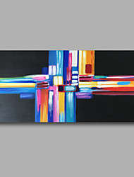Stretched (Ready to hang) Hand-Painted Oil Painting 100cmx50cm Canvas Wall Art Modern Abstract Black Blue