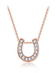 Fashion Style Gold Tone Pave Crystal Horseshoe Design Pendant Necklace