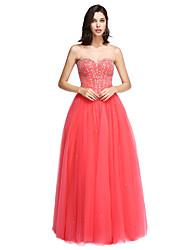 ts couture® formale Abendkleid a-line Liebsten bodenlangen Satin / Tüll mit Perlen