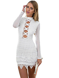 Women's Lace up|Backless Long Sleeved Keyhole Back Lace Dress