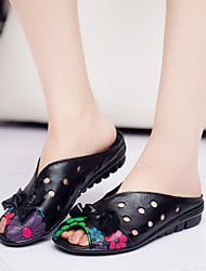 Women's Sandals Summer Comfort Leather Casual Flat Heel Bowknot / Flower Black / Red Others