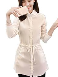 Chemise Femme,Couleur Pleine Décontracté / Quotidien simple Printemps / Automne Manches Longues Col de Chemise Blanc Coton Moyen